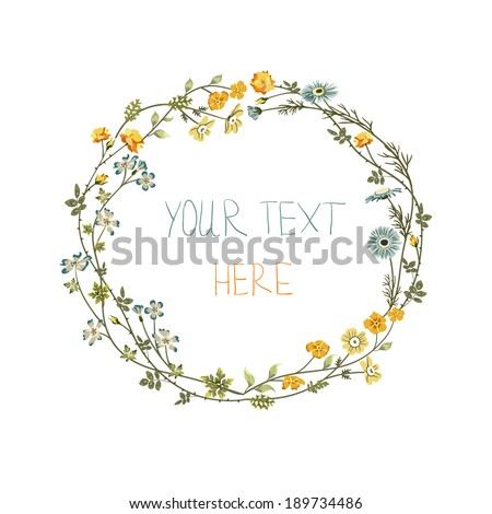 Vector floral frame with yellow and blue flowers - stock vector