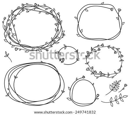 Vector floral frames silhouettes. - stock vector