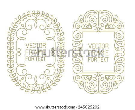 Vector floral frames with copy space for text in trendy mono line style - art deco monogram design element  - stock vector