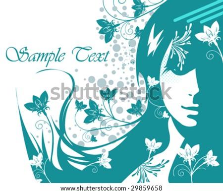 vector floral girl - stock vector