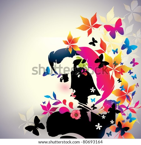 Vector floral girl - stock vector