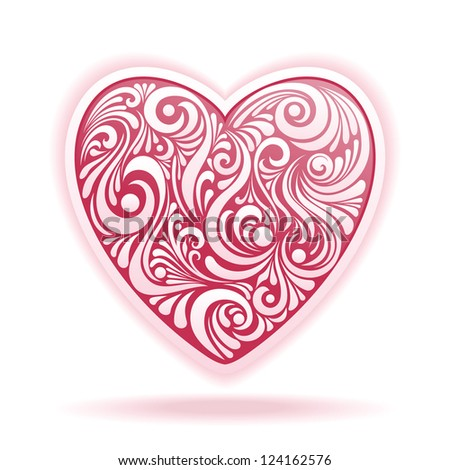 vector floral heart - stock vector