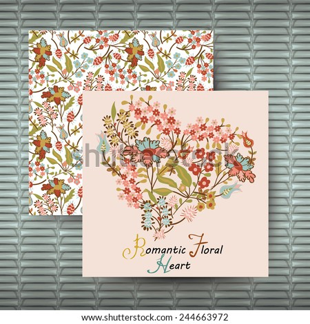 Vector  floral heart and  copyspace for your text. Wedding invitation card with  floral background. - stock vector