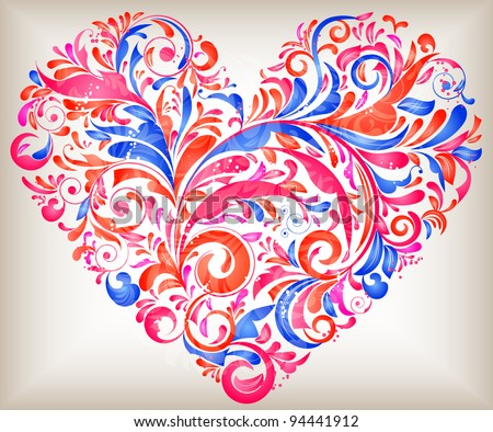 vector floral heart for saint valentines day - stock vector