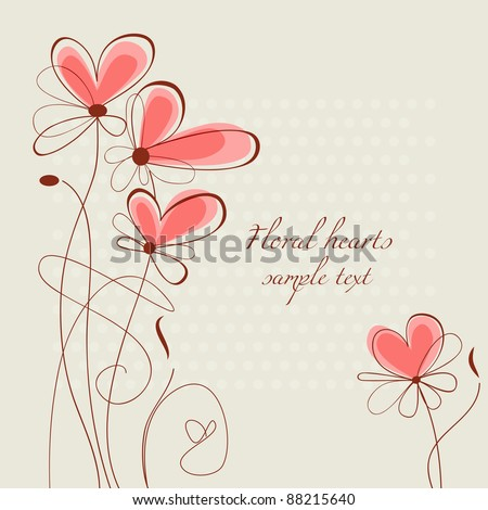 Vector floral hearts, ornament for wedding stationery - stock vector