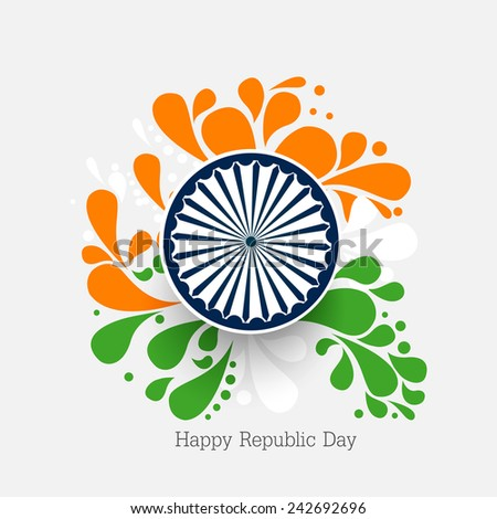 vector floral illustration for Indian republic day with Asoka wheel. - stock vector