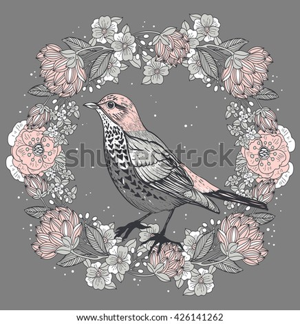 vector floral illustration of a bird and rich floral wreath in a vintage style - stock vector