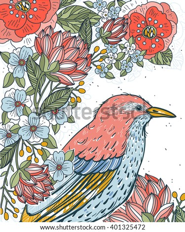 vector floral illustration of a bird, surrounded by blooming flowers