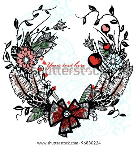 vector floral illustration of a hand drawn garland - stock vector