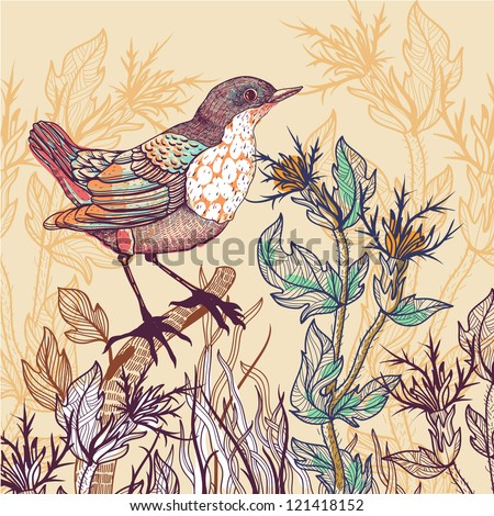 vector floral illustration of a little bird and wild herbs