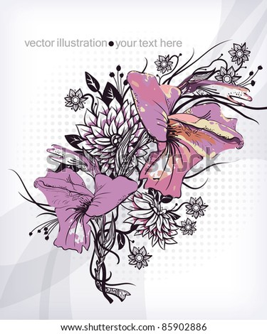 vector floral illustration of blooming gladiolus - stock vector