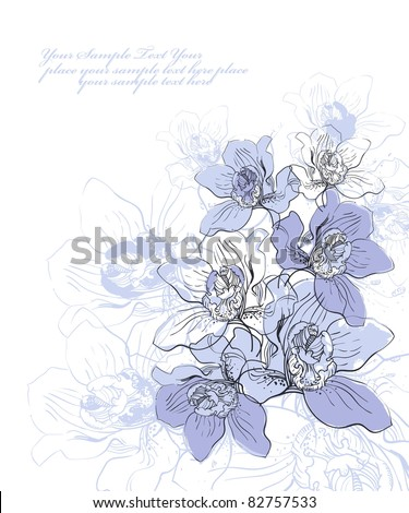 vector floral illustration of blooming orchids - stock vector