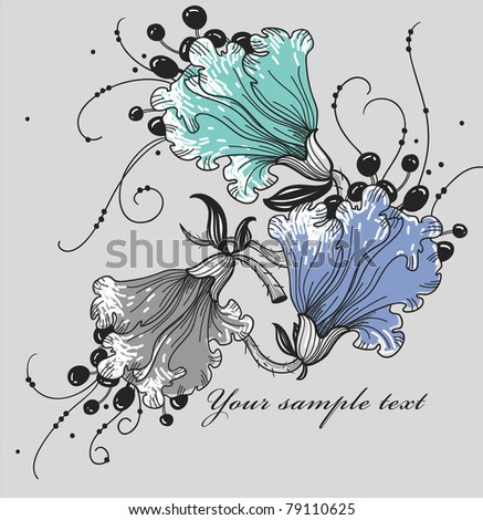 vector floral illustration of fantasy hand drawn flowers - stock vector