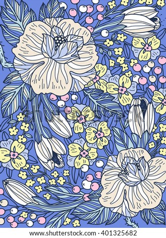 vector floral illustration of hand drawn blooming roses, berries and plants on a bright blue background