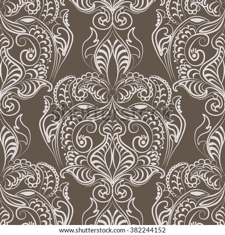 Vector floral lace pattern in Oriental style. Ornamental lace pattern for wedding invitations, greeting cards, wallpaper, backgrounds, fabrics, textile. Traditional decor. Gray stone color - stock vector