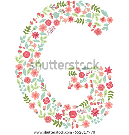 vector floral letter g capital letter stock vector royalty free