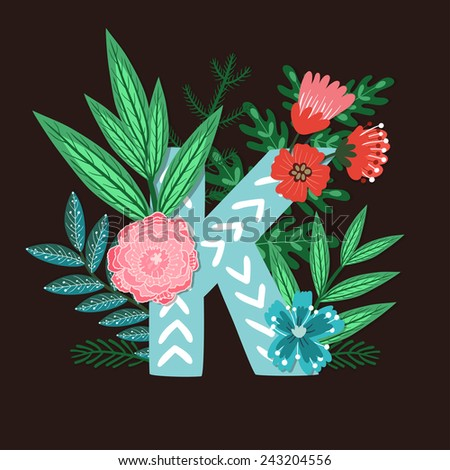 Vector floral letter made from leaves, branches, berries and flowers. Bright botanical alphabet. Vintage hand drawing character. Letter K. - stock vector