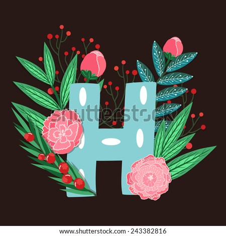 Vector floral letter made from leaves, branches, berries and flowers. Bright botanical alphabet. Vintage hand drawing character. Letter H. - stock vector