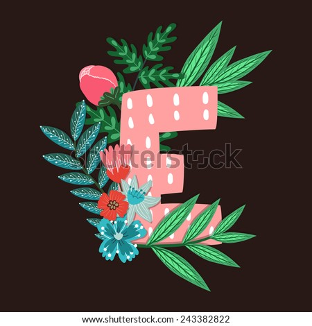 Vector floral letter made from leaves, branches, berries and flowers. Bright botanical alphabet. Vintage hand drawing character. Letter E. - stock vector