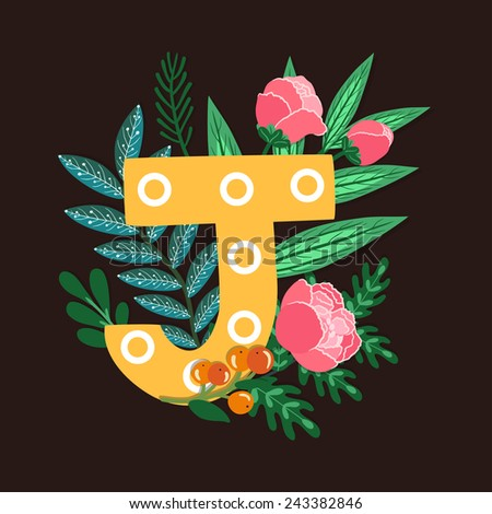 Vector floral letter made from leaves, branches, berries and flowers. Bright botanical alphabet. Vintage hand drawing character. Letter J. - stock vector