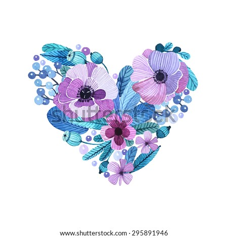 Vector floral motif in watercolor style. Composition of flowers in a heart shape. Delicate, feminine flowers in lilac tones painted by hand. Composition for invitations, greeting cards, covers. - stock vector