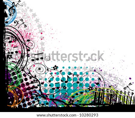 vector floral music background - stock vector