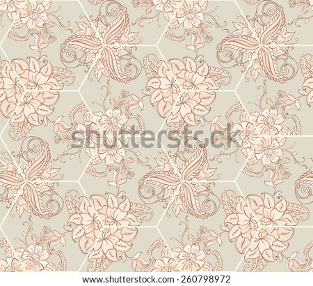 Vector Floral Ornament in Kaleidoscope. Seamless Ornament Background - stock vector