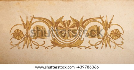Vector floral ornament on parchment paper background