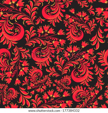 Vector floral ornamental pattern in traditional Russian style Hohloma - stock vector
