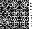 Vector floral pattern. Perfect for invitations and ornate backgrounds.  Pattern is included as seamless swatch. - stock