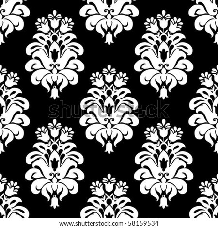 Vector floral pattern. Seamless tile included. Easy to change colors.