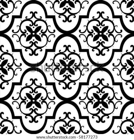Vector floral pattern. Seamless tile included. Easy to change colors. - stock vector