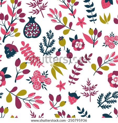 Vector floral pattern with berries, branches, leaves, flowers and pomegranate. Bright natural texture. - stock vector