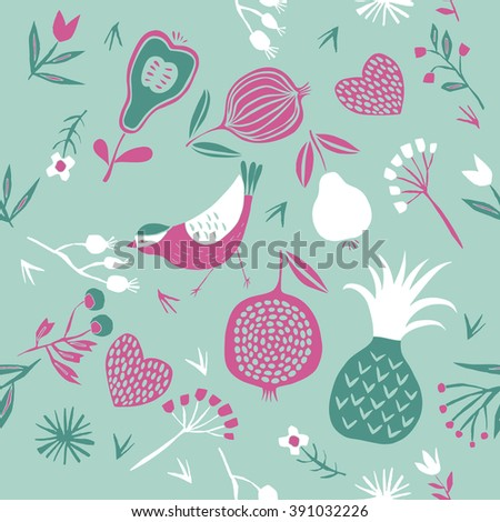 Vector floral pattern with bird, flowers, leaves and fruits - stock vector