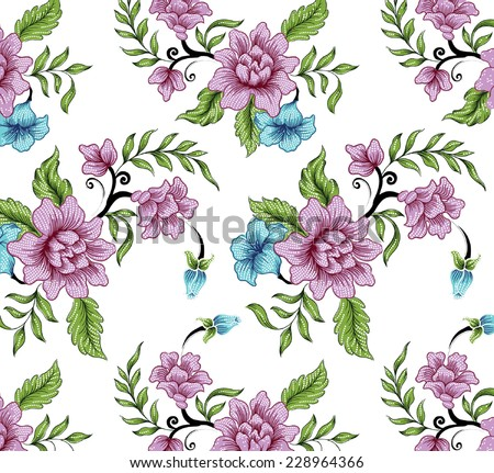vector floral pattern with blooming flowers. - stock vector
