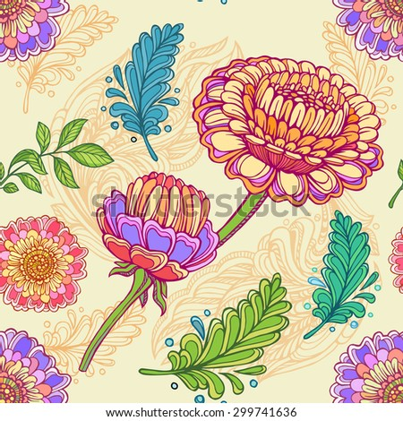 Vector floral seamlees pattern. - stock vector