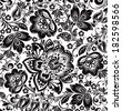 Vector floral seamless pattern. Russian traditional ornament Hohloma. black and white background - stock
