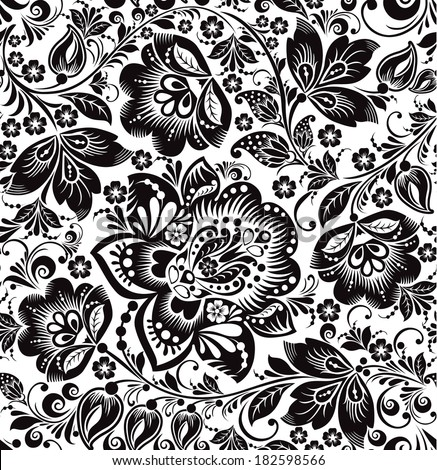 Vector floral seamless pattern. Russian traditional ornament Hohloma. black and white background - stock vector