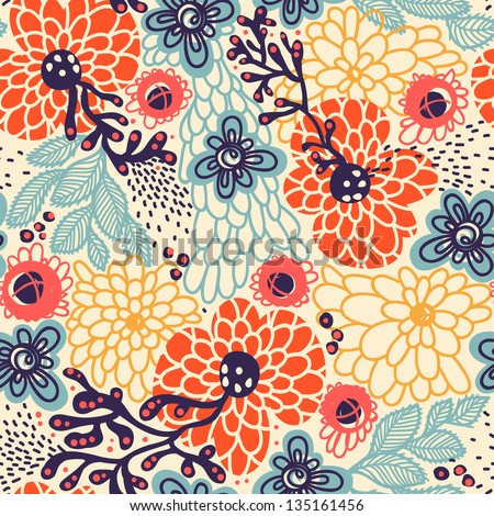 vector floral  seamless pattern with abstract blooming flowers - stock vector