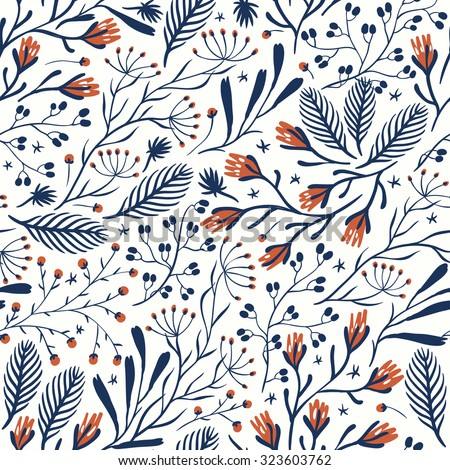 vector floral seamless pattern with abstract herbs and berries - stock vector