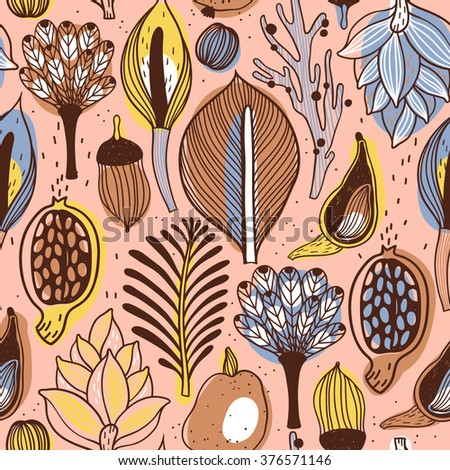 vector floral seamless pattern with abstract stylized plants and fruits