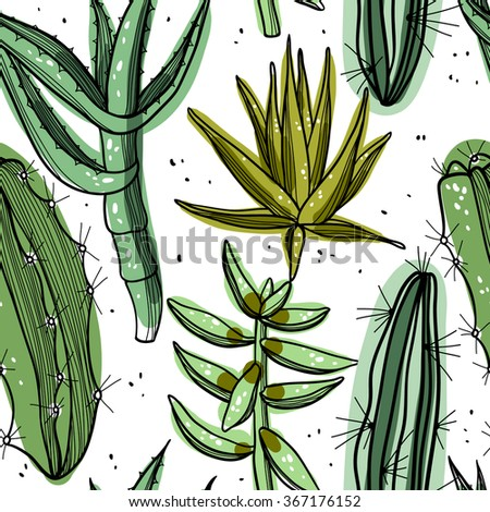 vector floral seamless pattern with abstract succulents and cactus - stock vector