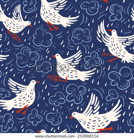 vector floral seamless pattern with birds and raindrops - stock vector