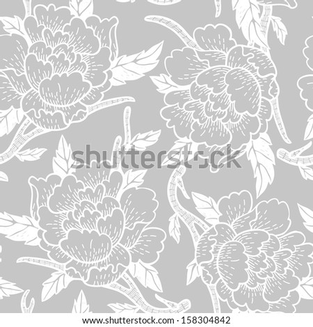 vector floral seamless pattern with blooming abstract roses - stock vector