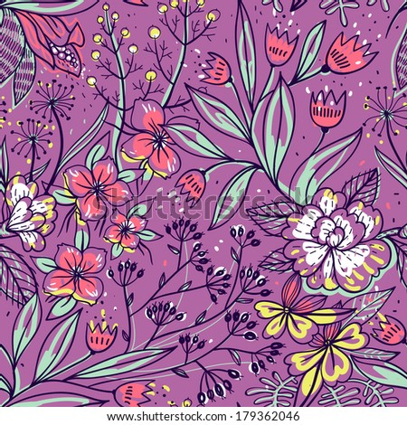 vector floral seamless pattern with blooming colorful flowers - stock vector