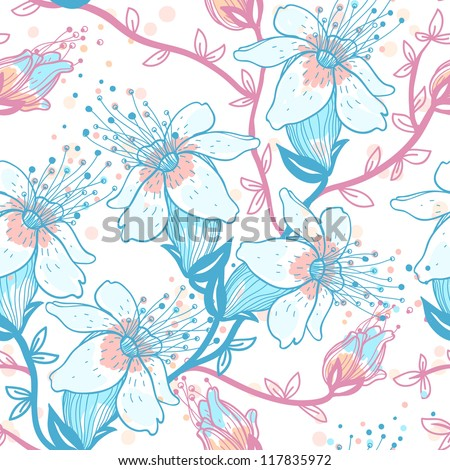 vector floral seamless pattern with blooming flowers of an apple tree
