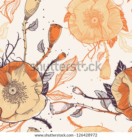 vector floral seamless pattern with blooming poppies