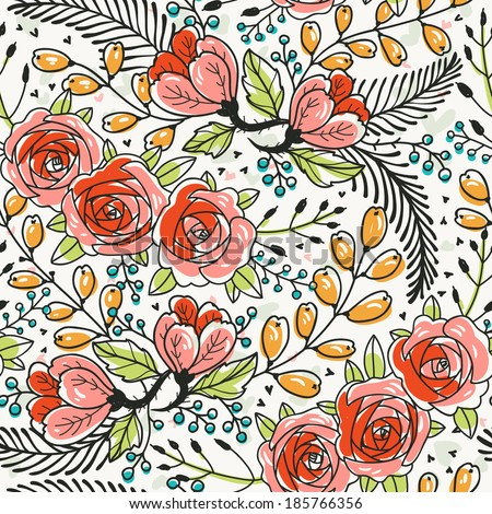 vector floral seamless pattern with blooming roses - stock vector