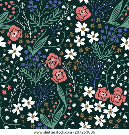 vector floral seamless pattern with blooming summer flowers and plants - stock vector