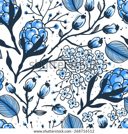 vector floral seamless pattern with blue berries and flowers - stock vector
